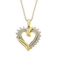1/10 Carat T.W. Diamond 14k Gold Vermeil Heart Pendant Necklace (White)