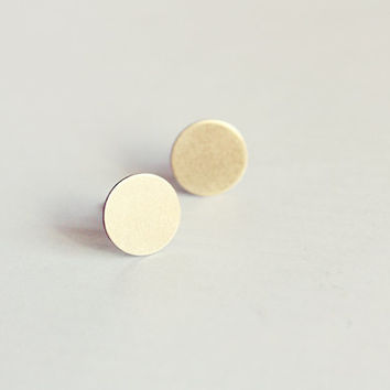 tiny disc post stud earrings - simple, dainty, geometric, minimalist jewelry