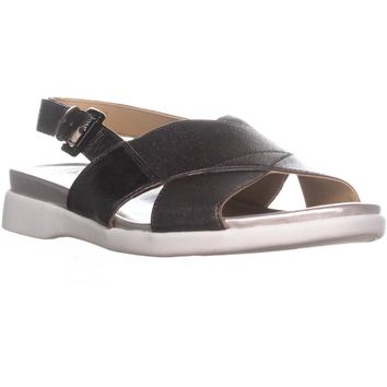 naturalizer Eliza Flat Ankle Strap Sandals, Gunmetal Leather, 7 US / 37 EU