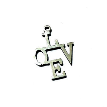 set of 4 pieces LOVE charm, 20mm x 26mm, stainless steel - C107