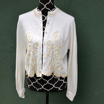 Vintage 1960s Cream Sweater with Cream Sequins - by Rosanna, rhinestone buttons, soft orlon, retro sweater, ladies wear, scalloped edges