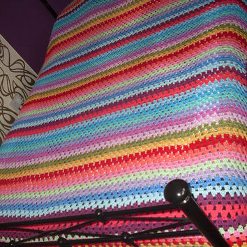 Custom Order Granny stripe crochet bedspread blanket - UK bed sizes Example