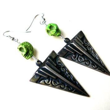 Skull Earrings, Arrowhead Earring, Teen Earrings, Goth Jewelry