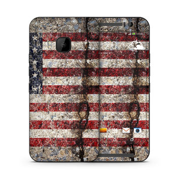 Rustic Cracked Concrete American Flag Skin for the HTC