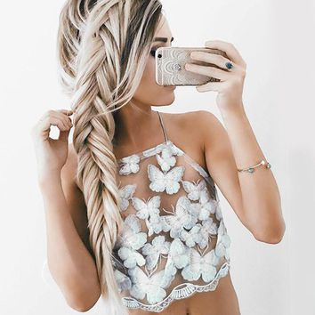 Summer Sexy White Mesh Lace Crochet Bralette Bustier Crop Top Women Casual Hollow Short Camis Tank Tops