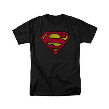 Superman Shield Logo Distressed DC Comics Licensed Adult T-Shirt - Black