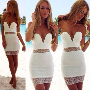 Strapless Cutout Mesh Bodycon Dress