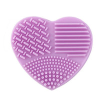 Silicone Makeup Brush Cleaner Washing Scrubber Cleaning Pad Mat Tool Heart Shape