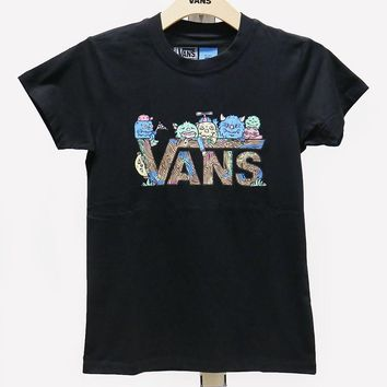 VANS Summer Women Black Cartoon Pattern Logo T-shirt