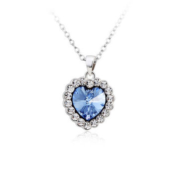 Swarovski Elements Persian Blue The Heart of the Ocean Pendant Necklace