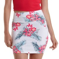 White Combo Tropical Print Bodycon Mini Skirt by Charlotte Russe