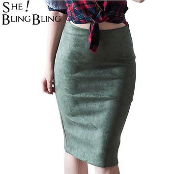 SheBlingBling Fashion Empire Skirts 2017 Spring Faux Suede Pencil Skirt High Waist Bodycon Split Thick Stretchy Skirts 12 Colors