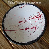 Blood splatter plate kiln fired pottery plates dinnerware made to order red white black dinner plate