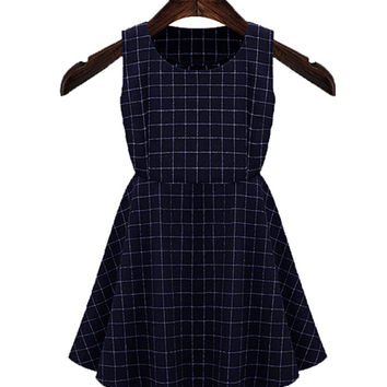 Black Sleeveless Plaid Skater Dress