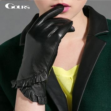 Gours Winter Genuine Leather Gloves For Women Fall 2017 New Fashion Brand Lace Black Ladies Gloves Goatskin Mittens luvas GSL027