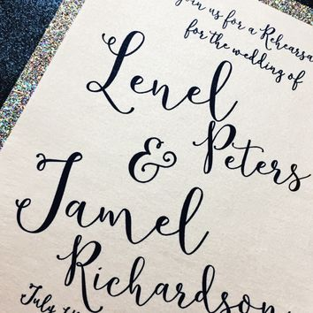 Rehearsal Dinner Invitation - Glitter Invitations - Engagement Party Invitations
