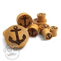 Anchor Engraved Wood Plugs (0G - 1 Inch) | UrbanBodyJewelry.com