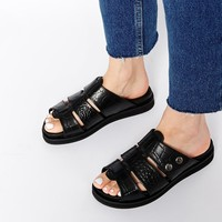 H by Hudson Sparta Black Leather Flat Sandals