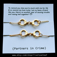 Set of two Gold tone Handcuffs bracelets - BFF jewelry - Best friends Graduation gift idea Best bitches handcuff jewelry sisters partners in