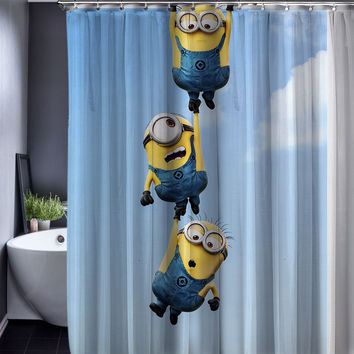 Minions Shower Curtains - Waterproof Fabric 165x180cm Bathroom Customized Shower Curtains with Hooks
