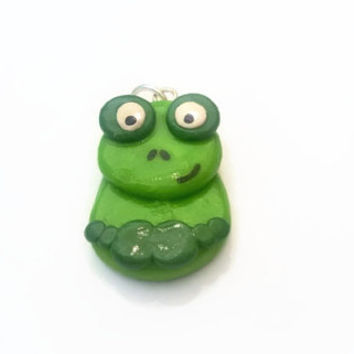 Charm ~ Frog Charm ~ Polymer Clay Charm ~ Necklace Charm ~ Bracelet Charm ~ Animal Art ~ Made to Order