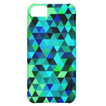 Blue Green Triangles Pattern Case For iPhone 5C