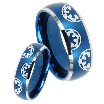 His Her Satin Blue Dome Star Wars & Galactic Empire Two Tone Tungsten Wedding Rings Set