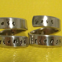 Best Friends Forever - Set Of Two Frienship Rings - BFF Wrap Ring Set Style B