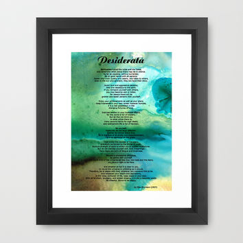 Desiderata 2 - Words of Wisdom Framed Art Print by Sharon Cummings
