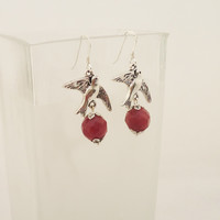 Ruby Earrings, Earrings in Red, Gemstone Earrings, Birds Earrings, Sterling