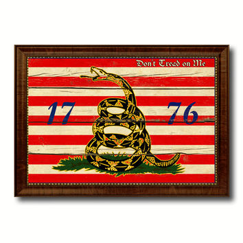 First Navy Jack Don't Tread On Me 1776 Tea Party Military Flag Vintage Canvas Print with Brown Picture Frame Gifts Ideas Home Decor Wall Art Decoration