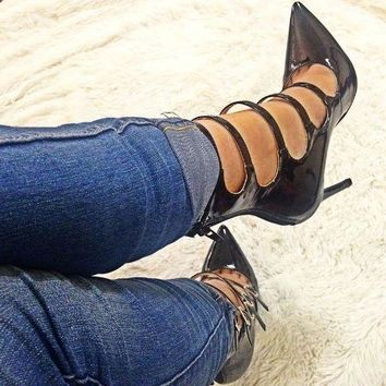 Pointed Toe Straps Stiletto High Heels Pumps Party Shoes
