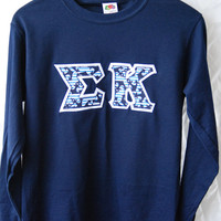 Navy Long Sleeve Shirt With Anchor Striped Print On White (359A)