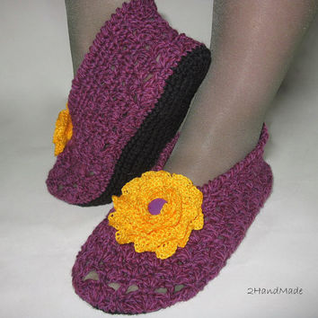 Lace crochet Trawel Home slippers Women Ladies purple orange sheep wool Cotton Irish Flower Brooch Vintage Ready to ship