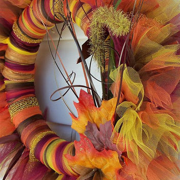 Autumn / Fall Tulle Wreath A MUST SEE by BonusMomBoutique on Etsy