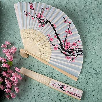 Folding Fan Delicate Japanese Cherry Blossom Design Silk Costume Party = 1946113412