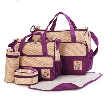 5PCS Set High Quality Multifunction Tote Baby Shoulder Diaper Bags Durable Nappy Bag Mummy Baby Bag 10 Color