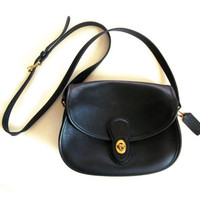 90s COACH Vintage Black Leather Prairie 9954 AUTHENTIC Women's Purse Saddle Bag