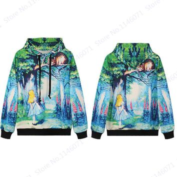Alice In Wonderland & Cheshire Cat Skateboard Hoodies Loose Women Hooded Sweatshirts Long Sleeved Unisex Pullovers Autumn Green