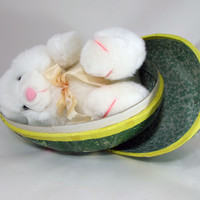 Paper Mache Easter Egg Filled with Plush Bunny Rabbit Illustrated by R. G. Brown Papier-mâché 12 inch Circa 1980