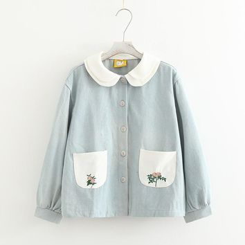 Rustic flower embroidery  female double layer peter pan collar loose denim outerwear mori girl