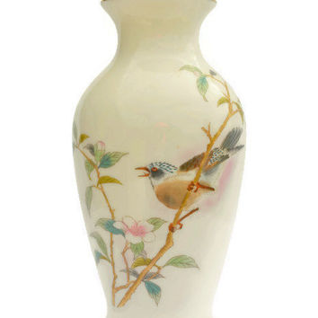 "Small Vintage Japanese Vase 7"", Yamahi Porcelain, Bird & Cherry Blossom,  Handpainted Japanese Vase, Collector's Item, Antique Asian Vase"