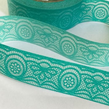 Sticky Washi Tape | Japan Adhesive Tape | Decorative Masking Tape | Scrapbooking Tools Favor Stationery | Green Lace 10m L07