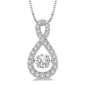 .25ct (4mm) Sterling Silver Dancing Diamond Simulant- Diamond Veneer Infinity Pendant in perpetual motion 635P02