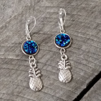 Druzy earrings- silver tone ocean blue druzy pineapple earrings