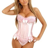 Jusian Women's Push Up Boned Corset Bustier Lingerie with G-string Pink Size XXL