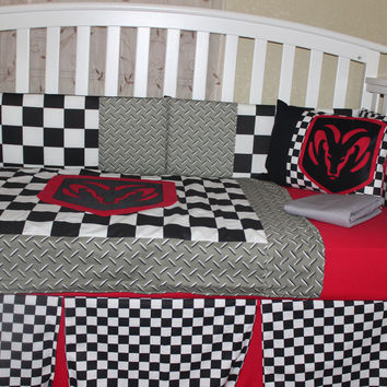 Dodge 6 Piece Crib Bedding Set Red