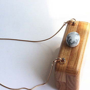 Wooden Wristlet Casual Clutch
