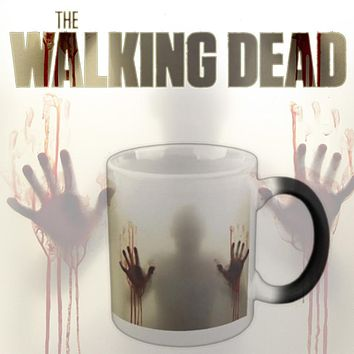 "Tv Show""The Walking Dead"" Mug Color Changing Heat Sensitive Ceramic Cup,Terrorist  Zombie Coffee mugs morphing tea cup"
