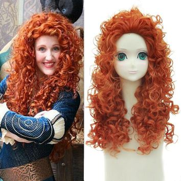 """Brave Merida Wig 55cm 21.65"""" Long Curly Wavy Anime Cosplay Wigs for Women Female Fake Hair High Quality Synthetic Wig Orange"""